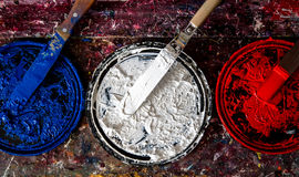Patriotic Ink. Red, White and Blue Ink Red, white and blue colors are staple inks used in the t-shirt printing business royalty free stock photo