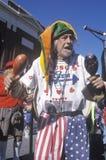 Patriotic jester marching in the Doo Dah Parade, Pasadena, California Stock Photo