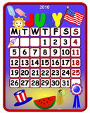 Patriotic July 2010 calendar. Colorful patriotic July 2010 calendar vector illustration