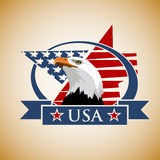 Patriotic label USA. Vector composition with the symbols of the United States. Patriotic label USA Stock Photo