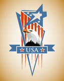 Patriotic label USA. Vector composition with the symbols of the United States. Patriotic label USA Stock Image
