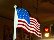 United States Flag. Patriotic light in a saloon, United States flag Stock Photos