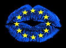 Patriotic love lip print European Union flag Royalty Free Stock Photography
