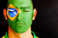 Patriotic man from Brazil Royalty Free Stock Photography