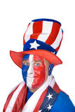 Patriotic man in costume celebrating July fourth Royalty Free Stock Photo