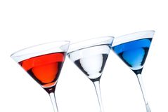 Patriotic Martinis. Backlit r Red white and blue martinis in a row with a patriotic theme - titled stock photo
