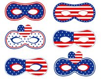 Patriotic mask. Blue and red retro patriotic stars and stripes printable masks collection vector illustration
