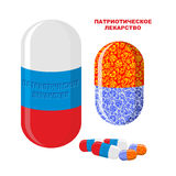 Patriotic medicine in Russia. Pills with Russian flag. Medical B. Ottle with pills. Translation of Russian text:  patriotic medicine Royalty Free Stock Photo