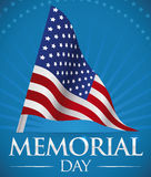 Patriotic Memorial Day Poster with Pennant, Vector Illustration Royalty Free Stock Photos