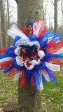 Patriotic  Mesh Wreath Royalty Free Stock Images