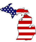 Patriotic Michigan. Michigan coverd with old glory Royalty Free Stock Images