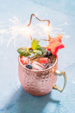 Patriotic Moscow Mule cocktail with watermelon and blueberry. American Patriotic Cold Moscow Mule cocktail with watermelon and blueberry Royalty Free Stock Photo