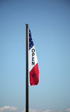 Patriotic open flag. Flying in a beautiful sky royalty free stock photo
