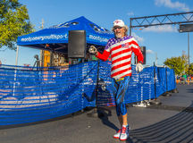 Patriotic Over 70 Year Old 5k Runner royalty free stock image