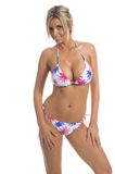 Patriotic Palm Tree Bikini. Sexy blond swim wear model in a Patriotic Red, White and Blue Palm Tree Pattern bikini Royalty Free Stock Image