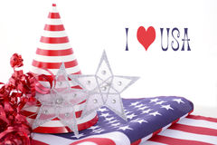 Patriotic party decorations for USA Events. Patriotic party decorations and stars and stripes flag for Fourth of July and USA Events Stock Image