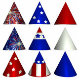 Patriotic Party Hats. Nine patriotic party hats in red, white, and blue. Perfect for the Fourth of July, Memorial Day, etc royalty free illustration