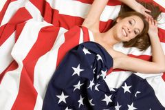 Patriotic Person. Beautiful smiling patriotic flag person Royalty Free Stock Photography