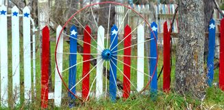 Patriotic Picket Fence Stock Images