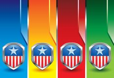 Patriotic pins on colored vertical banners Stock Image