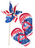Patriotic Pinwheel and Flip Flop Sandals Stock Photography