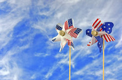 Patriotic pinwheel with sky background Royalty Free Stock Photography