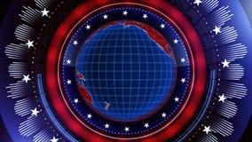 Patriotic Radial Globe Spin 4K Loop stock footage