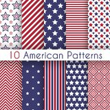 Patriotic Red, White And Blue Geometric Seamless Stock Images