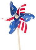 Patriotic Red White and Blie Pinwheel. Patriotic Red White and Blue Pinwheel with Stars and Stripes of USA Isolated on White Stock Photos