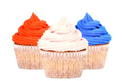 Patriotic red, white and blue cupcakes Stock Photo