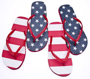 Patriotic Red White and Blue Flip Flop Sandals Royalty Free Stock Photos