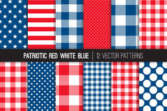 Patriotic Red White Blue Seamless Vector Patterns. Red White Blue Stars & Stripes, Buffalo Check Plaid, Gingham and Polka Dot Seamless Vector Patterns. July 4th Royalty Free Stock Photos