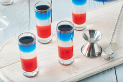 Patriotic Red White and Blue Shots Royalty Free Stock Photos