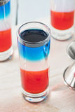 Patriotic Red White and Blue Shots Stock Photo