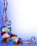 Patriotic Roses border red white blue vector illustration