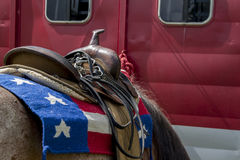 Patriotic saddle stock photography