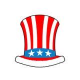 Patriotic Santa Claus cap. Winter Hat Uncle Sam. Christmas Cylin Stock Images