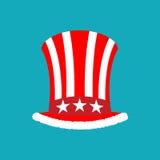 Patriotic Santa Claus cap. Winter Hat Uncle Sam. Christmas Cylin Stock Image