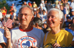 A patriotic senior couple Stock Image