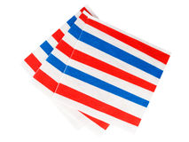 Red white and blue striped napkins, serviettes Stock Photography