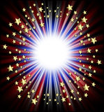 Patriotic shooting stars frame. A round border of shooting stars radiating from the center in red, white & blue royalty free stock photography