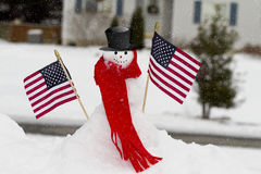 Patriotic Snowman royalty free stock images