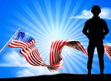 Patriotic Soldier American Flag Background. A patriotic soldier standing in front of an American flag background Royalty Free Stock Photos