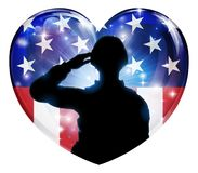 Patriotic Soldier Saluting American Flag Heart. A patriotic soldier saluting in an American flag heart background Stock Photography