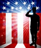 Patriotic Soldier Saluting American Flag. A patriotic soldier standing saluting in front of an American flag background with copy space vector illustration