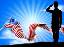 American Flag Soldier Saluting Background. A patriotic soldier saluting in front of an American flag ribbon background vector illustration