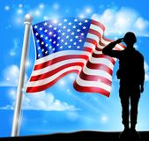 Patriotic Soldier Salute American Flag Background. A patriotic soldier standing in front of an American flag background and saluting Stock Photo