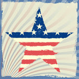 Patriotic star on a striped background Royalty Free Stock Photos