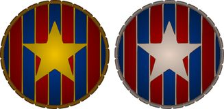 Patriotic Stars. Gold and Silver stars on red and blue striped shields vector illustration