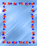 Patriotic Stars Frame Border. Patriotic red white and blue beveled stars frame on light blue background royalty free illustration